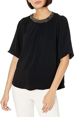 Flowy Short Sleeve Embellished Neck Silk Top