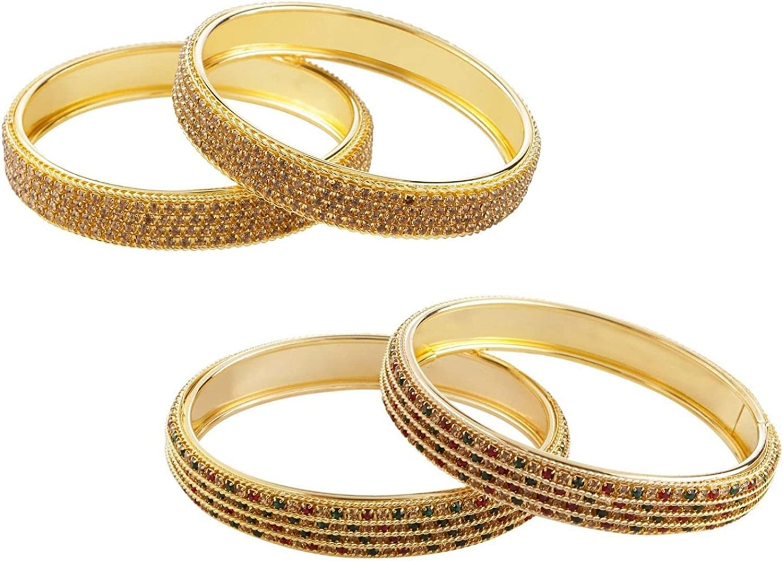 Efulgenz Indian Style Bollywood Traditional Gold Plated Crystal Stone Wedding Bracelet Bangle Set Jewelry