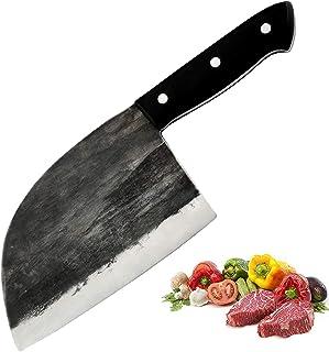Promithi Handgemacht Japanisches Kochmesser Serbisch Metzgermesser Ausbeinmesser Santokumesser Fleischmesser Schälmesser Allzweckmesser Küchenmesser Hackmesser für Hackbeil-Zerhacker