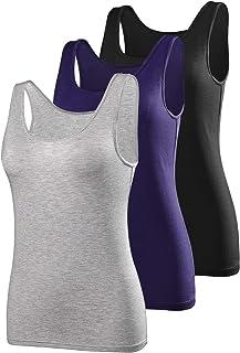 AMVELOP Elastic Tank Tops for Women Undershirts Pack of 4 Slim-Fit