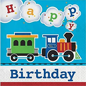 Creative Converting All Aboard Blue Boy's Happy Birthday Party Lunch Luncheon Napkins, 6.5