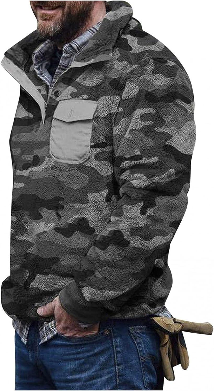Sweaters for Men Men's Camouflage Turtleneck Plush Sweater Men's Button Pullover Plush Sweater WIth Pocket