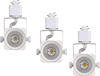 Cloudy Bay 8W Dimmable LED Track Light Head,CRI90+ Warm White 3000K,Adjustable Tilt Angle Track Lighting Fixture,120V 40° Angle for Accent Retail,White Finish,Halo Type- 3 Pack