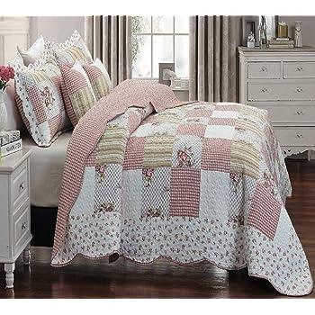 THL Parure de lit avec couvre-lit en patchwork et 2/taies doreiller dimensions 255 x 275/cm