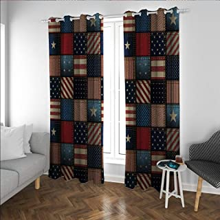 Linhomedecor United States Sun Black Out Window Curtain American Flag Patchwork Vertical and Horizontal Stripe and Star Forms Blackout Curtains Panels for Bedroom 0 Red Blue