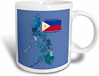 3dRose mug_114186_2 Flag and Map of The Republic of The Philippines with All Regions Colored and Labeled Ceramic Mug, 15-Ounce