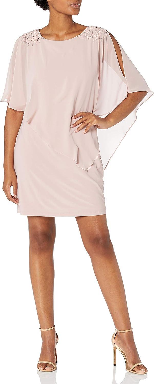 S.L. Fashions Women's Max 54% OFF Foil Chiffon New York Mall Dress Cape