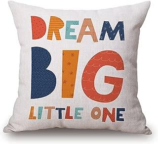 JES&MEDIS Cartoon Style Alphabet Quotes Sea World Buildings Cotton Linen Burlap Decorative Square Throw Pillow Cover Cushion Case, 18x18 Inch B