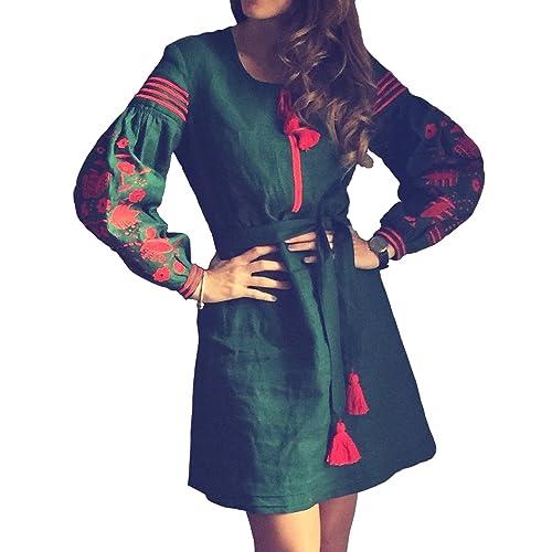 8837f4546d1 Ryabokon Factory Long Green Embroidered Boho Dress Bohemian Style Ukrainian  Style Ethnic Vyshyvanka Red Embroidery