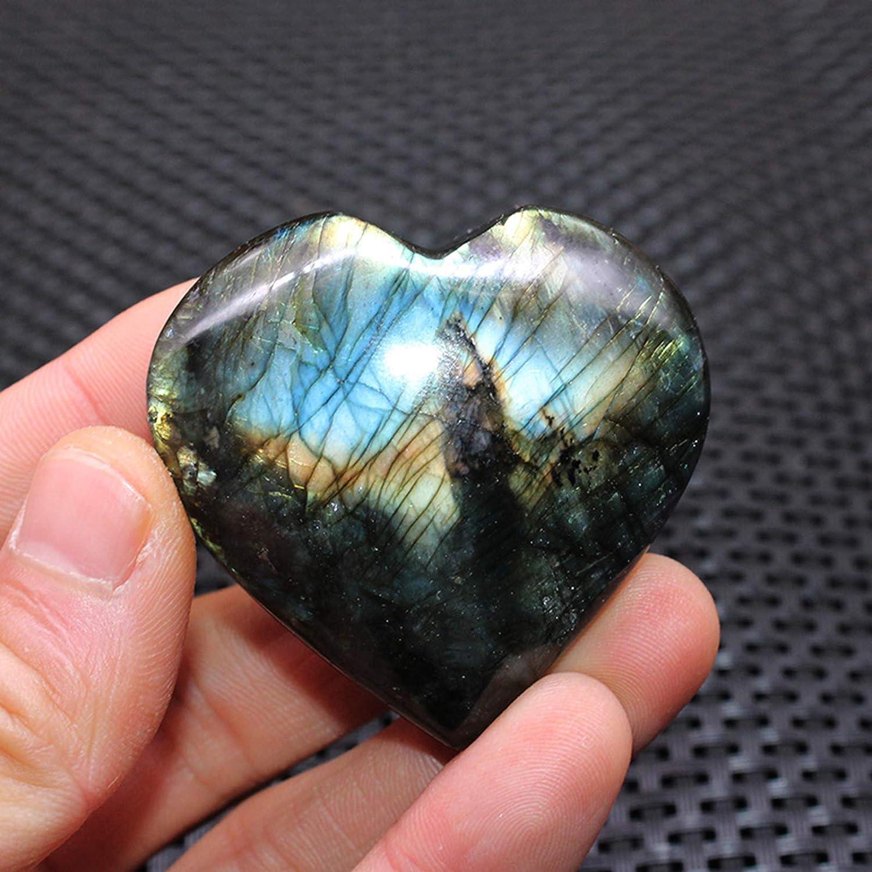 Napacoh Heart Shape Pendant Healing Quartz Faux Gemstone Labradorite Moonstone Jewellery Pendant 25-30mm