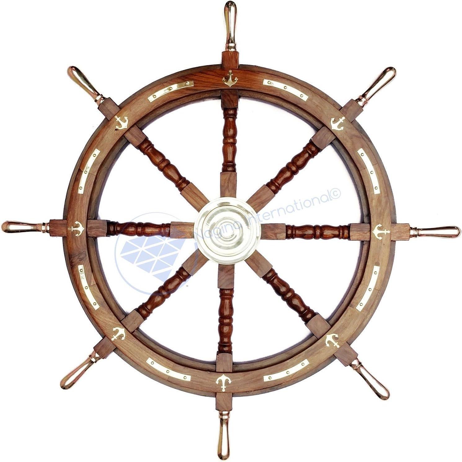 中古 Nagina International Wood 送料無料 激安 お買い得 キ゛フト Hand Crafted Anchor Ship Accent Brass