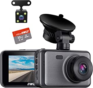 Dash Camera for Cars, 1080P Dash Cam Front and Rear and SD Card Include, 3 LCD Screen Dual Lens Dash Cam with Night Vision, 170° Wide Angle Dashboard DVR Motion Detection Parking Monitor G-Sensor WDR