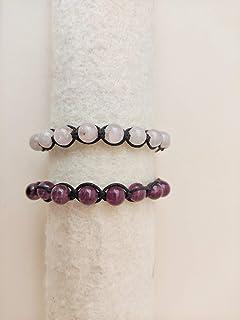 Bracciali INTRECCIO realizzati con fili di cuoio e pietre naturali: quarzo rosa e agata viola