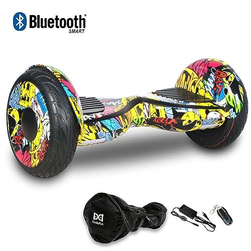Cool&Fun Balance Board/Skateboard/Gyropode Éléctrique Auto-équilibrage Bluetooth Scooter Trottinette Électrique 10 Pouces,Pneu Gonflable JUNMA