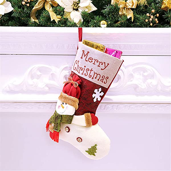 Panzisun Christmas Stockings Xmas 3D Ornament Large Plaid Snowflake Plush Faux Oxford Cuff Stockings Stock For Family Holiday Xmas Party Decorations