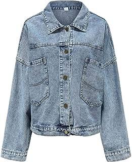Rosatro Women's Denim Wash Button Full Sleeve Regular Collar Short Blue Jacket