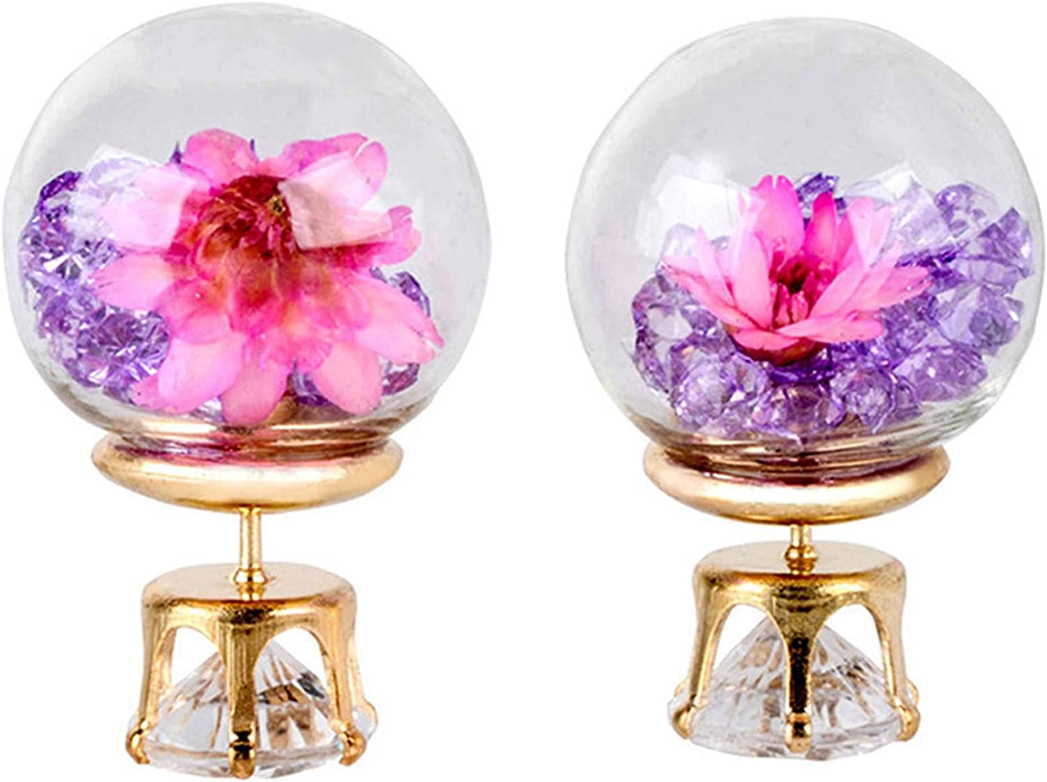 Winwinfly Colorful Glass Ball Pendant Earring Glass Ball Charms Dry Flower Crystal Ball Earrings for Woman,Girl