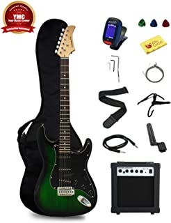 Stedman Pro EG39-TGRB-10W Beginner Series Electric Guitar with Case, Strap, Cable, Capo,..