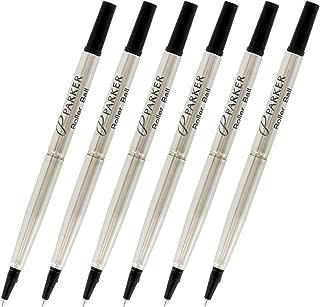 Parker Quink 墨水滚珠笔笔芯,中尖,黑色墨水,6 支装