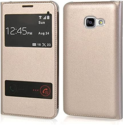 NETBOON Double Window Superior Finish Full Protection Flip Protective Case for Samsung J7 Max - Gold