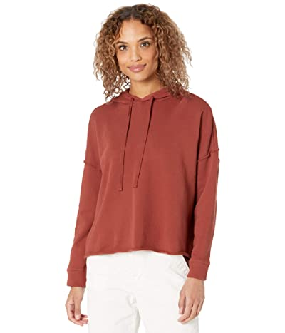 Eileen Fisher Organic Cotton French Terry Cropped Hoodie (Deep Terracotta) Women