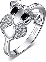 JewelryPalace Schnauzer Terrier Dog Puppy Pet Lover Genuine Black Spinel Ring 925 Sterling Silver