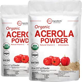 2 Pack of Pure USDA Organic Acerola Cherry Powder, Natural and Organic Vitamin C for Immune System, 8 Ounce, No GMO, No Gl...