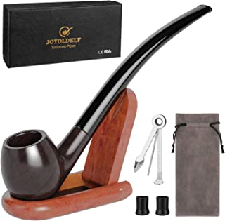 Joyoldelf Churchwarden Tobacco Pipe Set, Luxury Wood Smoking Pipe with Pipe Stand and Other Smoking Accessories & Gift Box, Perfect Festive Gift