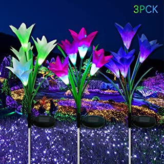 Solar Flower Lights LED Outdoor Garden Flower Lights Multi-Color Changing LED Solar Decorative Lights- 3 Pack with 12 Lily Flowers Garden Patio Backyard