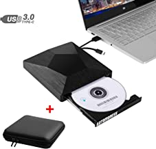 External CD DVD Drive for Laptop, Automoness USB 3.0 & Type-C CD Drive Burner for Mac/Windows/Desktop, Dual Port CD/DVD-RW Portable Optical Player Writer Drive with Carrying Case