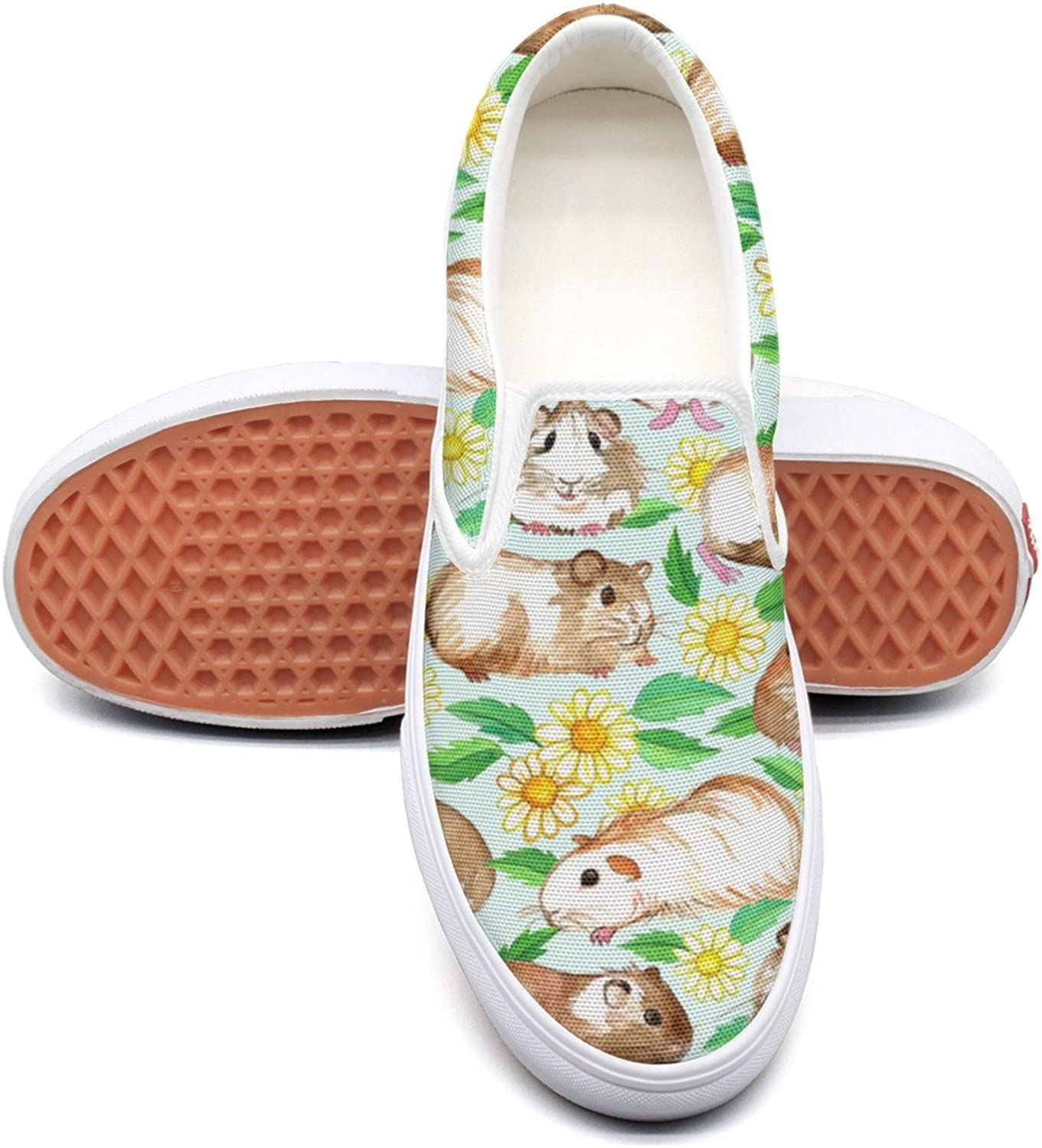 SEERTED Cute Guinea Pigs and Daisies Floral Comfortable Sneakers for Women for Work
