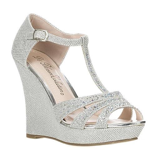 6a6a02ee46b728 DeBlossom Womens Dressy Glitter Rhinestone T Strap Platform Wedge Sandal  Aalle-2