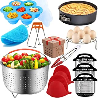 Pressure Cooker Accessories Set Compatible with Instant Pot 5,6,8 QT, Steamer Basket, Springform Pan, Egg Rack, Egg Bites Mold, Cheat Sheet Magnets, Bowl Clip, Tong and Mitts& Scrub/12pcs