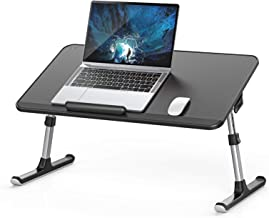 [Large Size]Laptop Bed Tray Table, SAIJI PVC Leather Adjustable Laptop Stand, Portable Lap Desks with Foldable Legs, Noteb...