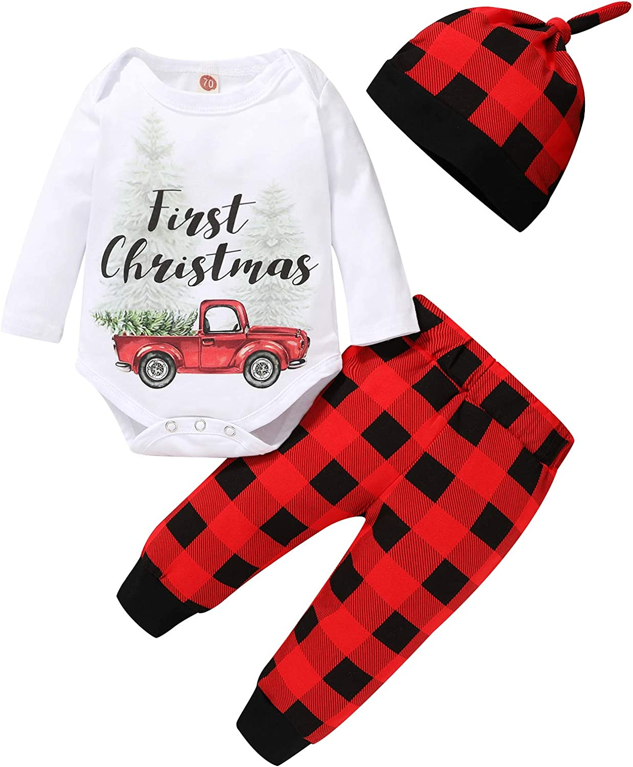 Newborn Baby Boy Girls Christmas Outfit First Christmas Romer Top + Red Plaid Pants + Hat 3Pcs Xmas Clothes Set
