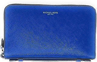 Michael Kors Mens Gifting Money Bag Wallet Double Zip Leather Atlantic Blue