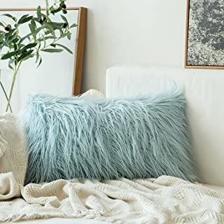 Best MIULEE Decorative New Luxury Series Style Light Blue Faux Fur Throw Pillow Case Cushion Cover for Sofa Bedroom Car 12 x 20 Inch 30 x 50 cm Review