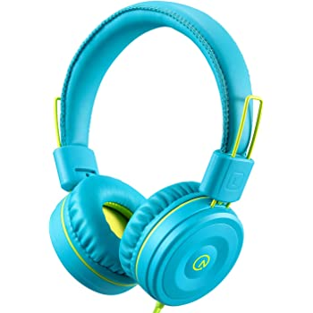Kids Headphones-noot products K22 Foldable Stereo Tangle-Free 3.5mm Jack Wired Cord On-Ear Headset for Children/Teens/Boys/Girls/Smartphones/School/Kindle/Airplane/Plane/Tablet (Teal/Lime)