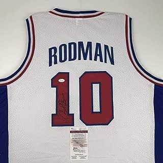 Autographed/Signed Dennis Rodman Detroit White Basketball Jersey JSA COA