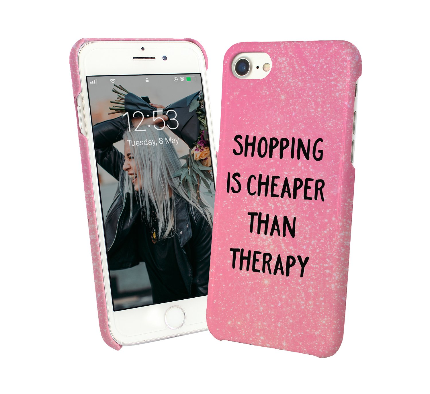 Shopping Is Cheaper Than Therapy Addict Fashion.PNG iPhone 6 7 8 X Galaxy S8 Note 8 Huawei P10 Carcasa De Telefono Estuche Protector Phone Case Cover Hard Plastic: Amazon.es: Electrónica