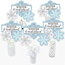 Big Dot of Happiness Winter Wonderland - Snowflake Holiday Party and Winter Wedding Party Centerpiece Sticks - Table Toppers - Set of 15