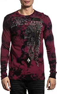 Affliction Men's Graphic Long Sleeve Shirt, Brixton Tribe Variant, Thermal Crew Neck