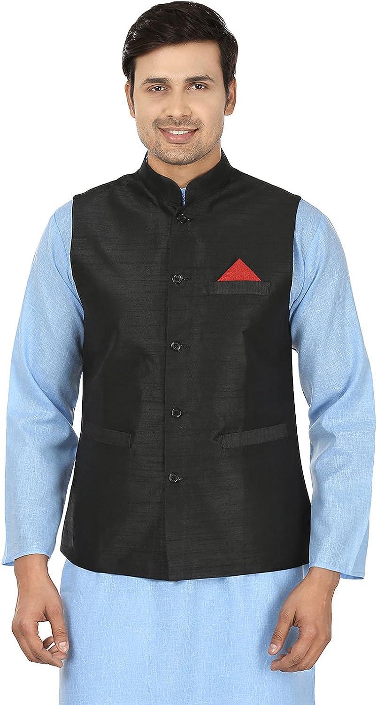 Maple Clothing Men's Sleeve Less Silk Nehru Jacket Traditional India Waistcoat