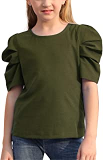GORLYA Girl's Puff Sleeve Casual Solid T-Shirt Pullover Keyhole Back Blouse Tops for 4-14 Years