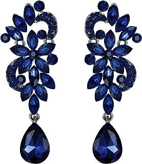 Women's Bohemian Boho Crystal Flower Wedding Bridal Chandelier Teardrop Bling Clip-On Dangle Earrings