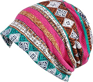 Jemis Womens Cotton Chemo Hat Beanie Scarf - Beanie Cap Bandana For Cancer (Rose Red Blue)