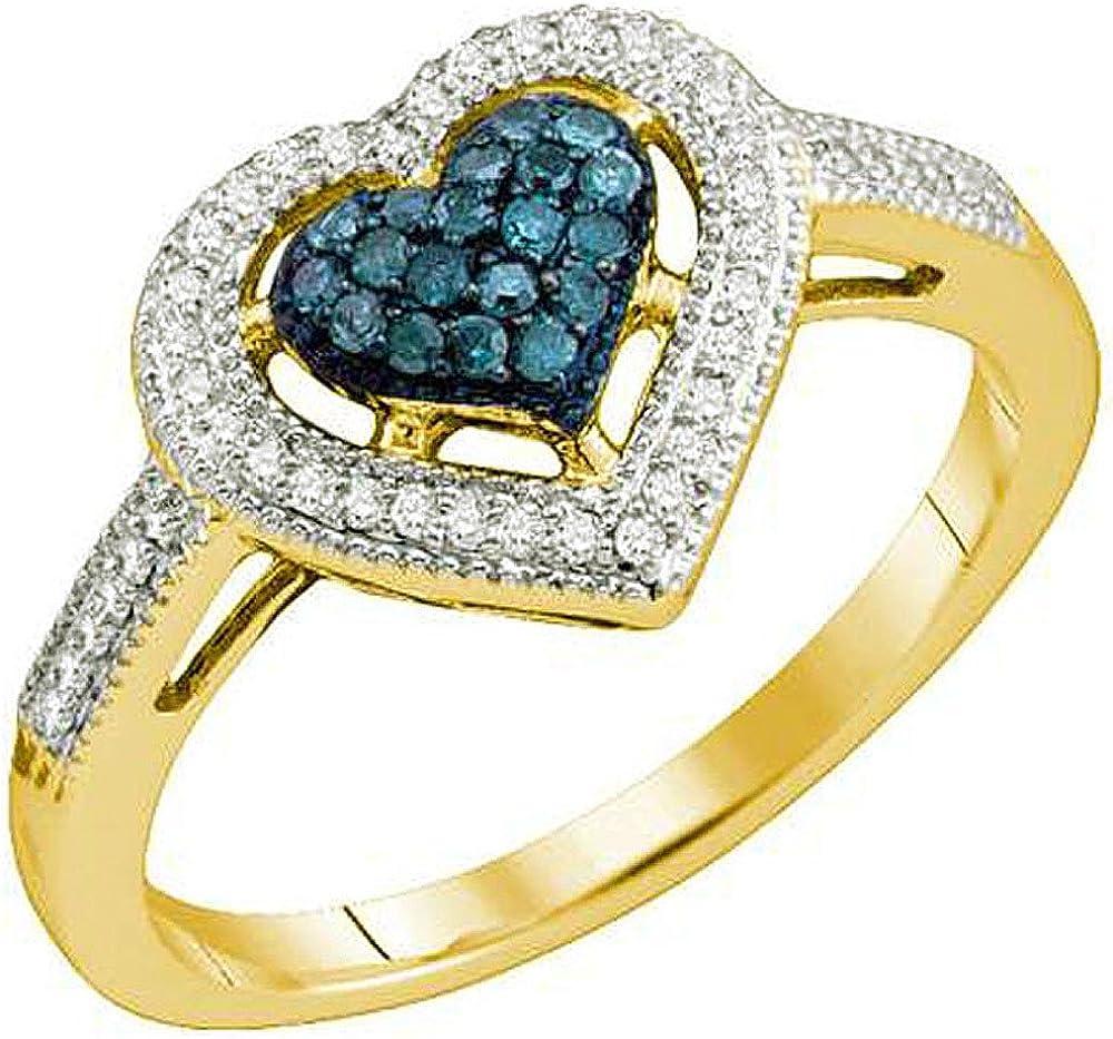Dazzlingrock Collection 0.25 Carat (ctw) 10k White & Blue Diamond Ladies Heart Millgrain Bridal Promise Ring 1/4 CT, Yellow Gold