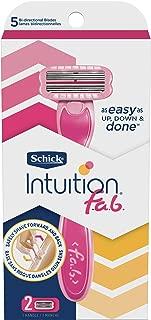Schick Intuition f.a.b. Razor, Effortless Shaving for Women, 1 Handle and 2 Razor Blade Refills