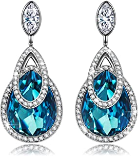 J.NINA ♥ Alpine Lakes ♥ Platinum Plated Hypoallergenic Dangle Earrings For Women, With Crystals from Swarovski Best choice for Mothers Day!