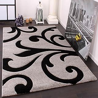 Paco Home Alfombra De Diseño - Ornamentos Contorneados En Gris Negro, tamaño:200x290 cm